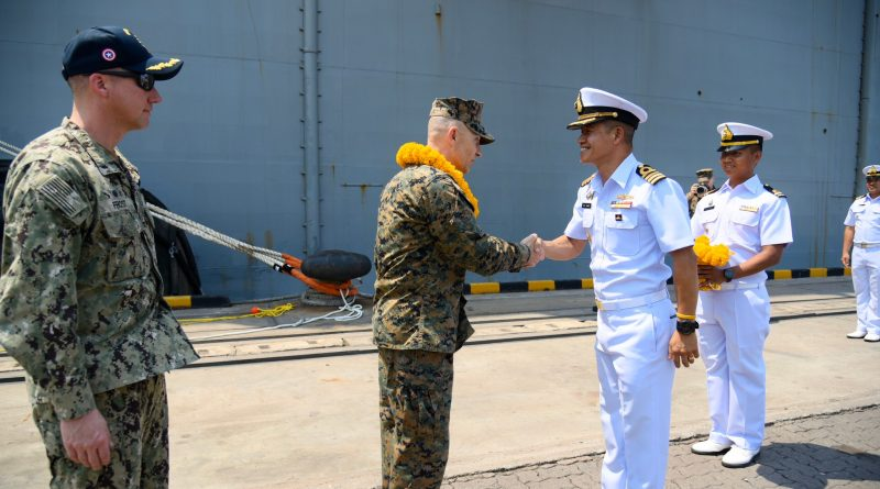 กองทัพเรือต้อนรับ USS.America (LHA-6) ที่เดินทางถึงประเทศไทยเพื่อเข้าร่วมการฝึกคอบร้าโกลด์ 20 ด้วยมิตรภาพที่อบอุ่น ณ ท่าเรือแหลมฉบัง จ.ชลบุรี